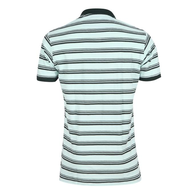 Pale Green and Black Cotton Polo For Men