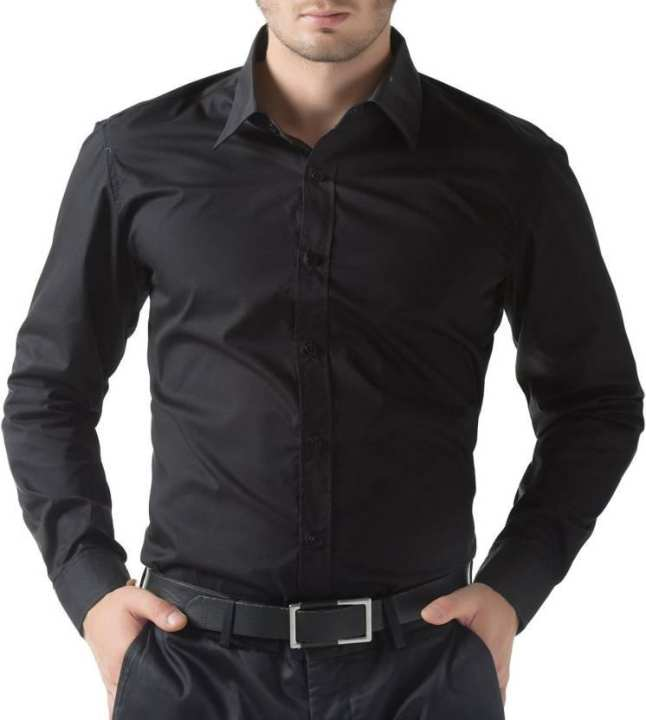 Black Cotton Blend Formal Shirt for Men
