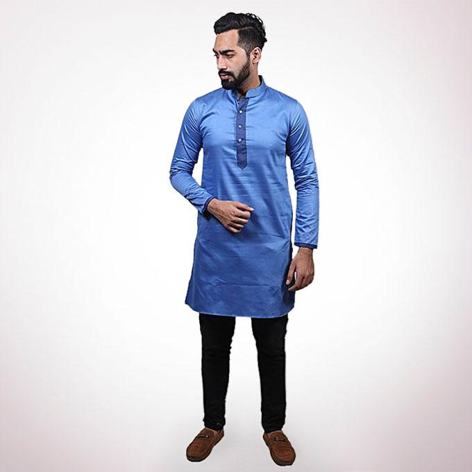 Blue Cotton Panjabi For Men