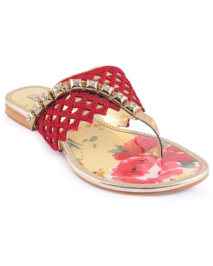FOOTSEE Leather Casual Flat Sandal For Women - Multi Color