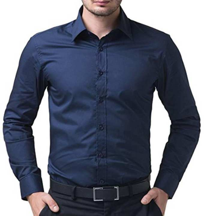 Navy Blue Cotton Long Sleeves Casual Shirt For Men