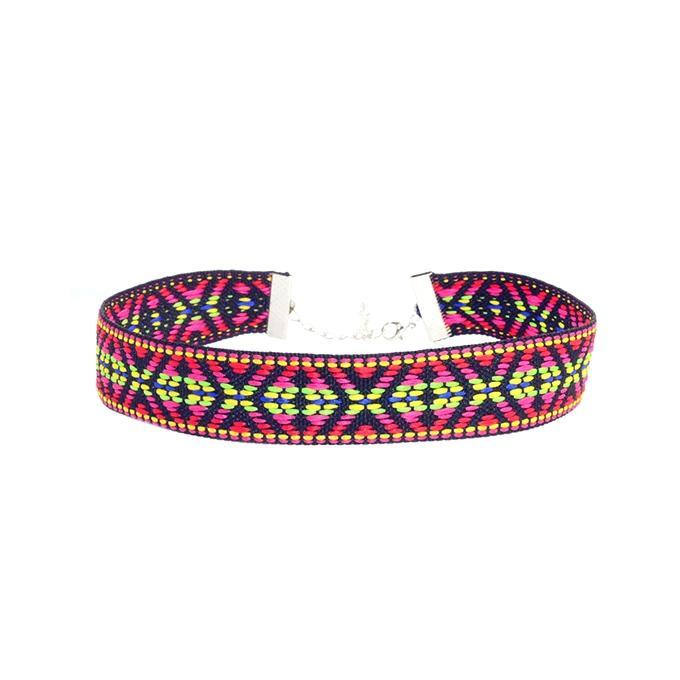 Multi-color Cotton Choker Necklace