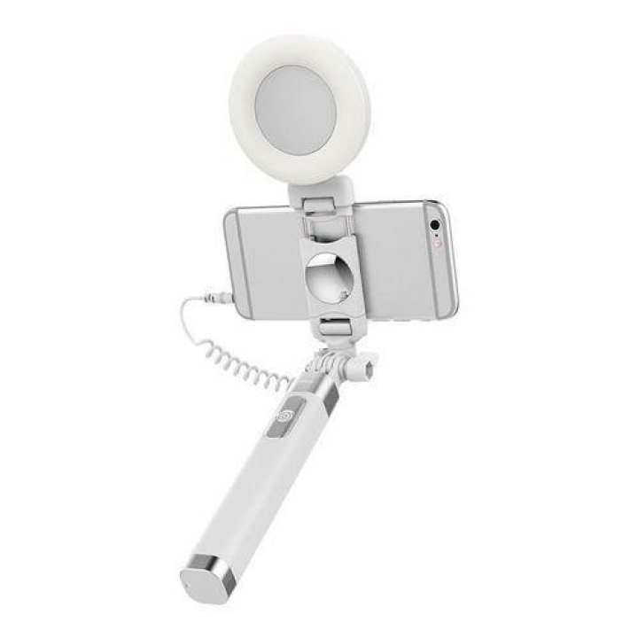 Rock ROT0770 3.5mm Extendable Monopod Selfie Stick with LED Light