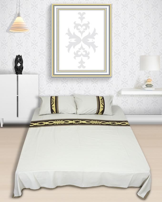 Applique Cotton Bedsheet - Offwhite and Yellow