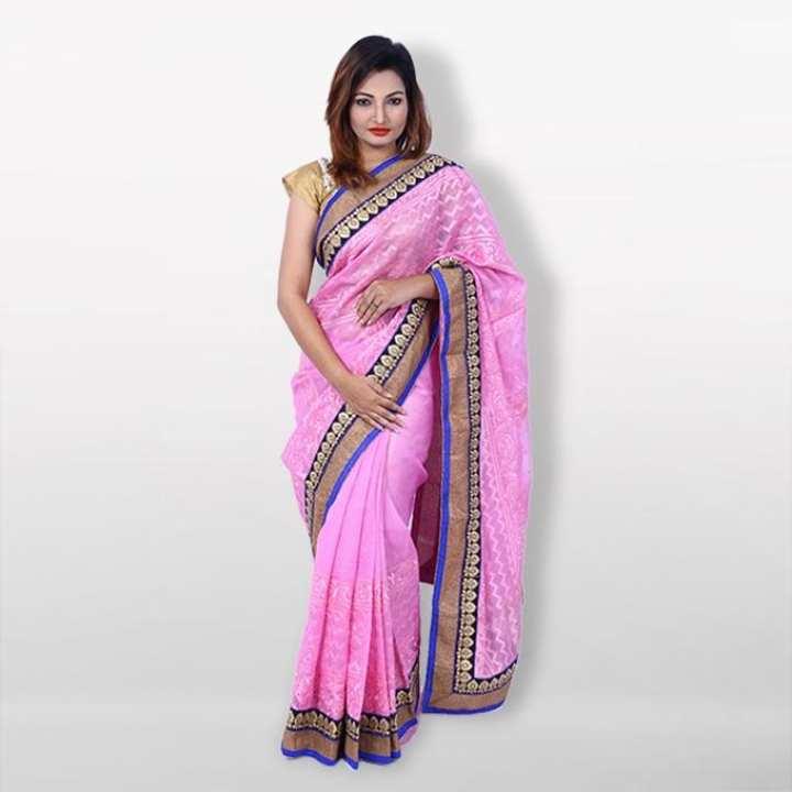 Pink Silk Jeri Net Catalogue Saree  For Women