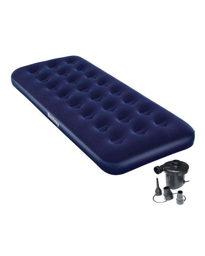 Flocked Single Air Bed Camping Mattress with Pump - Blue