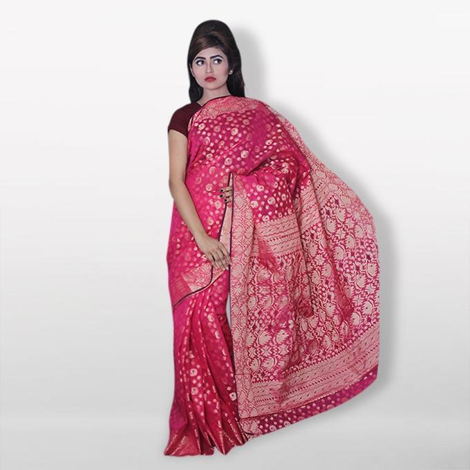 Light Magenta Half Silk Sharee For Women