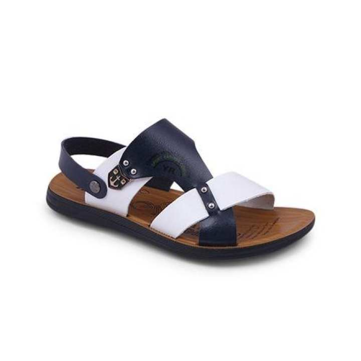 PU Sandal For Men - Navy Blue and White