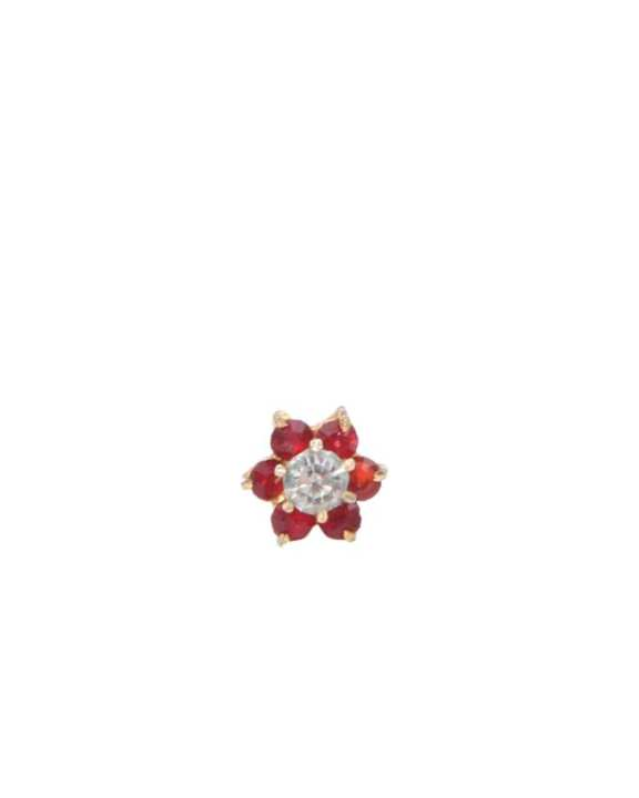 """GOLD Nosepin """"Red and White 7 Stone Multi Color """""""