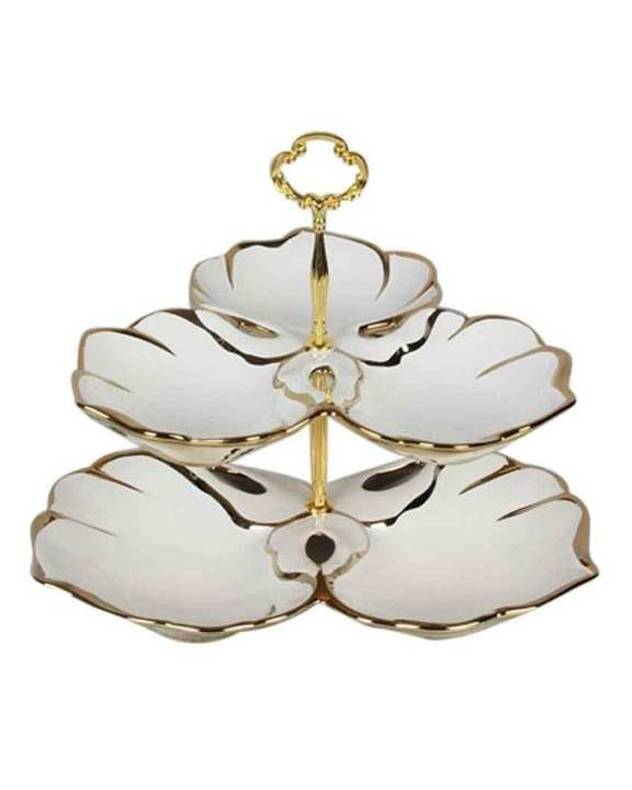 Decorative Appetizer Serving Dish - White and Golden