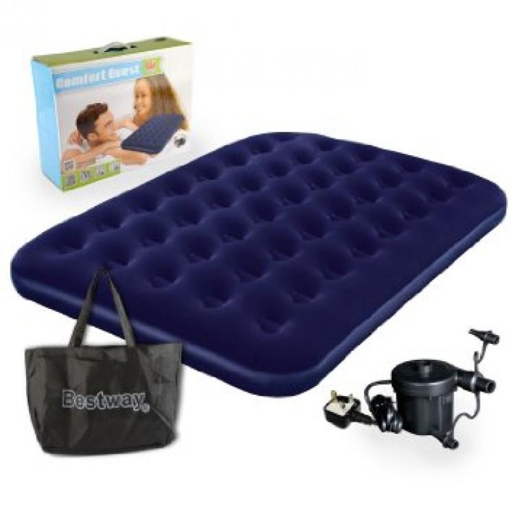 Bestway Flocked Single Air Bed Camping Mattress with Pump - Blue