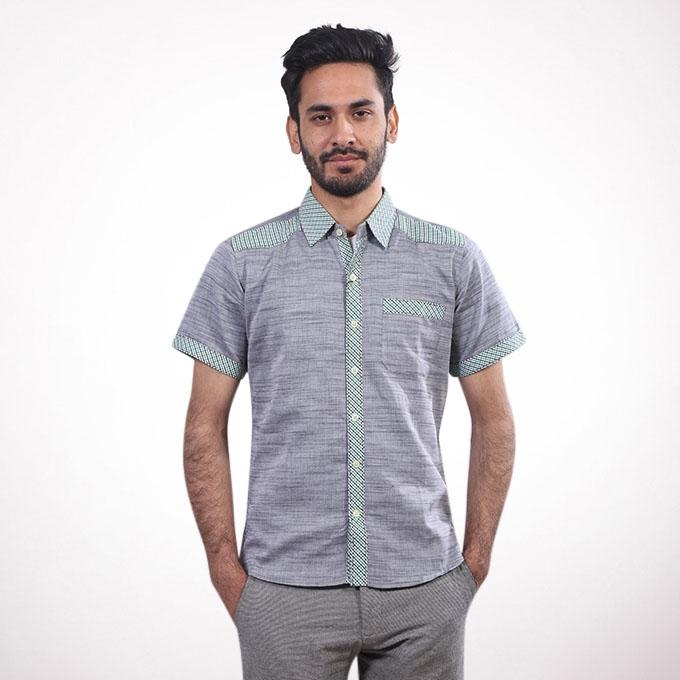 Grey and Green Cotton Short Sleeve Shirt for Men