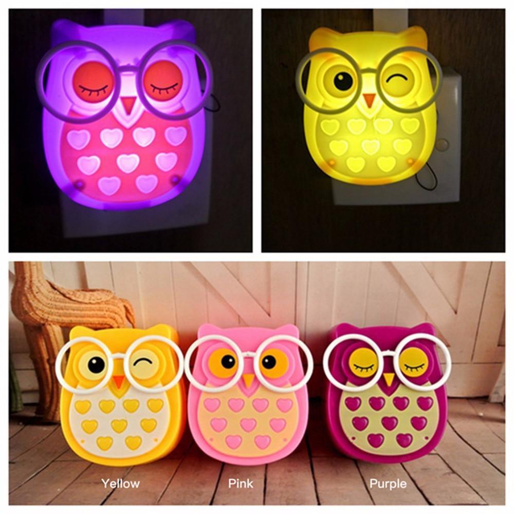 Cute Owl Night Light Led Animal Auto Control Sensor Lamp Kids Baby Soft Light Bedroom Lighting