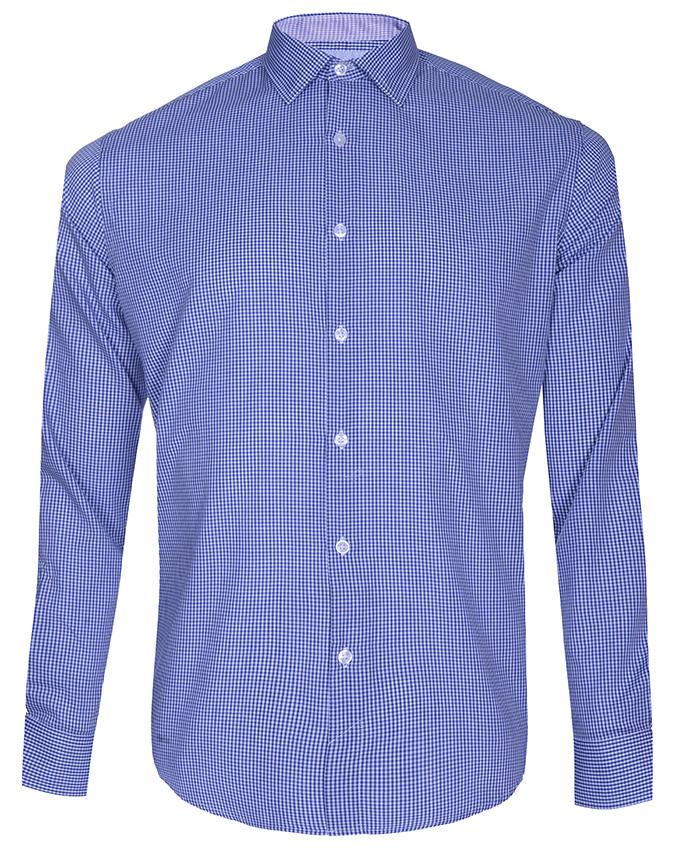 Gingham Cotton Long Sleeve Shirt - Blue