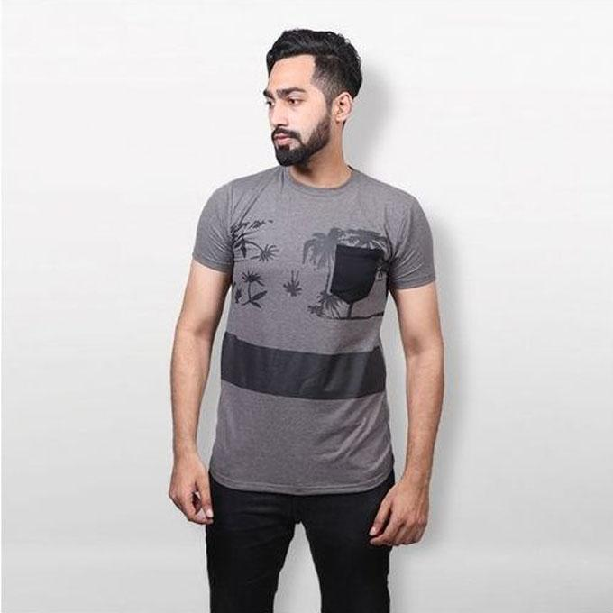 Gray Cotton T-Shirt With Pocket For Men
