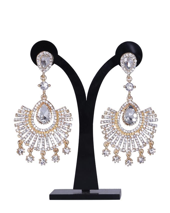 Diamond Cut Earrings For Women - White