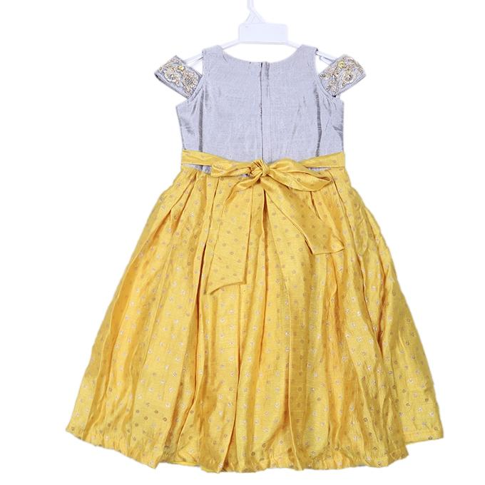 Yellow and Gray Katan Casual Dress For Girls