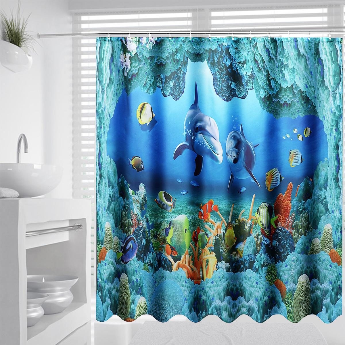 Global Collection 180x180cm Blue Ocean Dolphin Deep Sea Bathroom Shower Curtain Waterproof Set