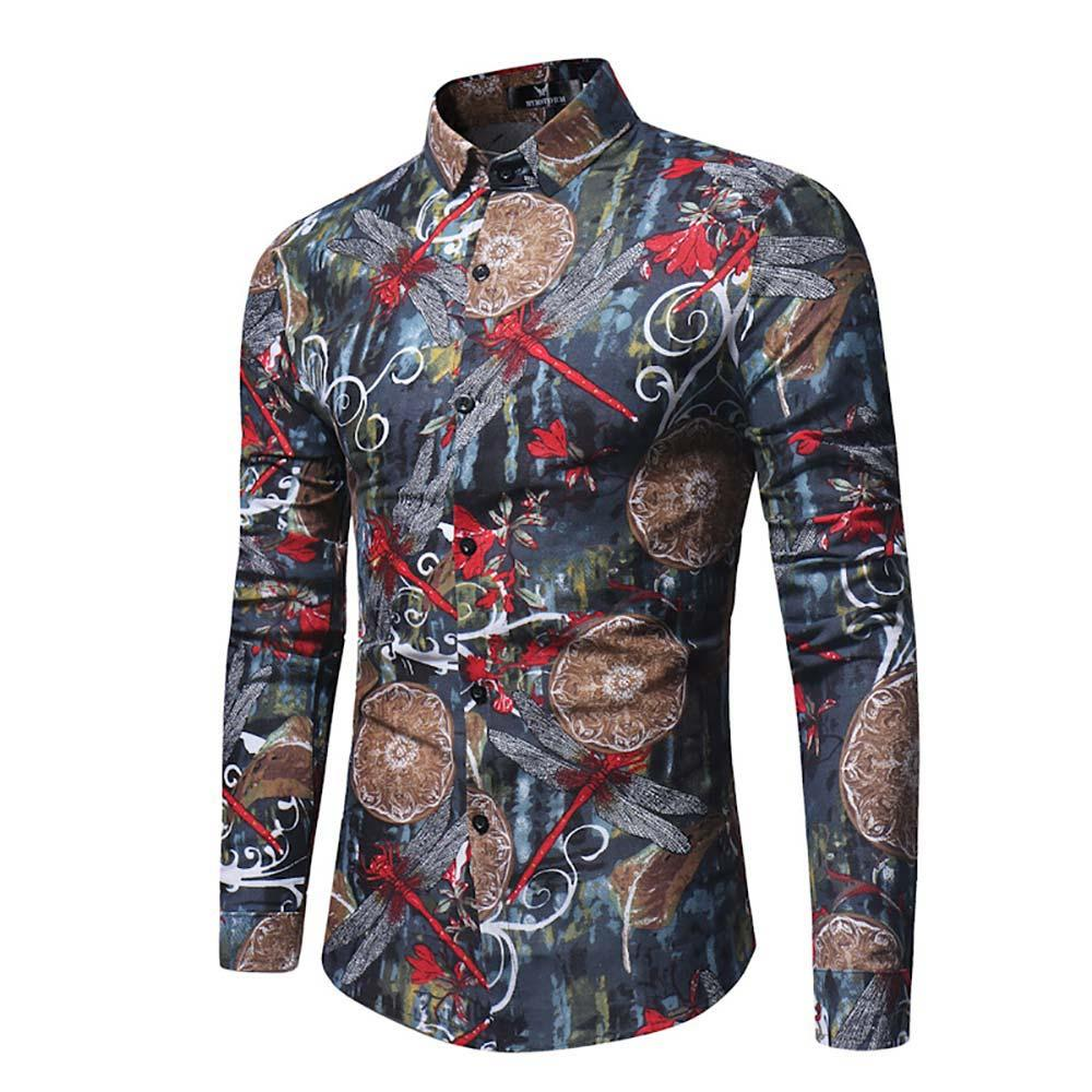 99950d5a9ee03 Stylish Print Long Sleeve Shirt Fashion Casual Turn-Down Slim Fit Shirt For  Men