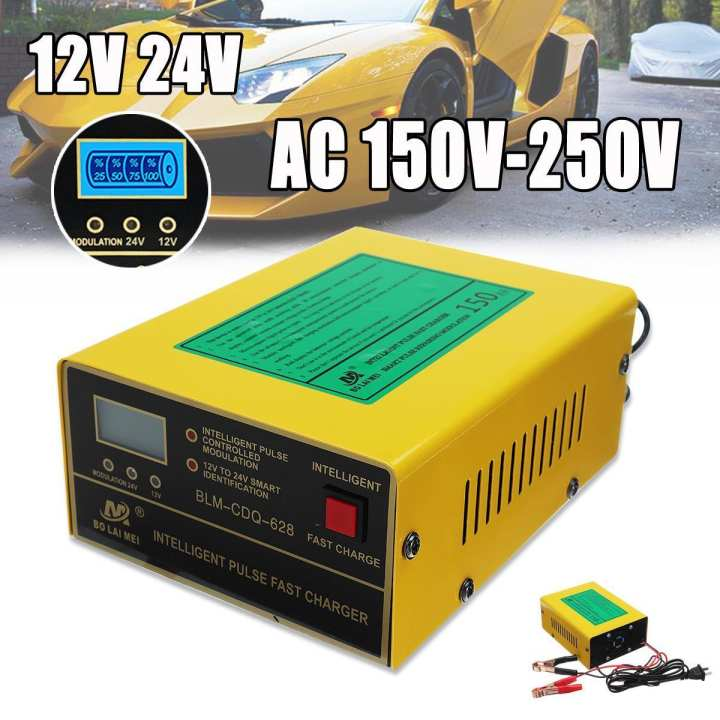 12V/24V Auto Motorcycle Car Truck Battery Charger Pulse Repair Lead Acid Starter Fast Charge Repair Pulse Charge