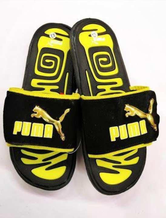 Men Fashionable Comfortable Hi Quality Puma Brand Slipper Sandal Colour black and yellow
