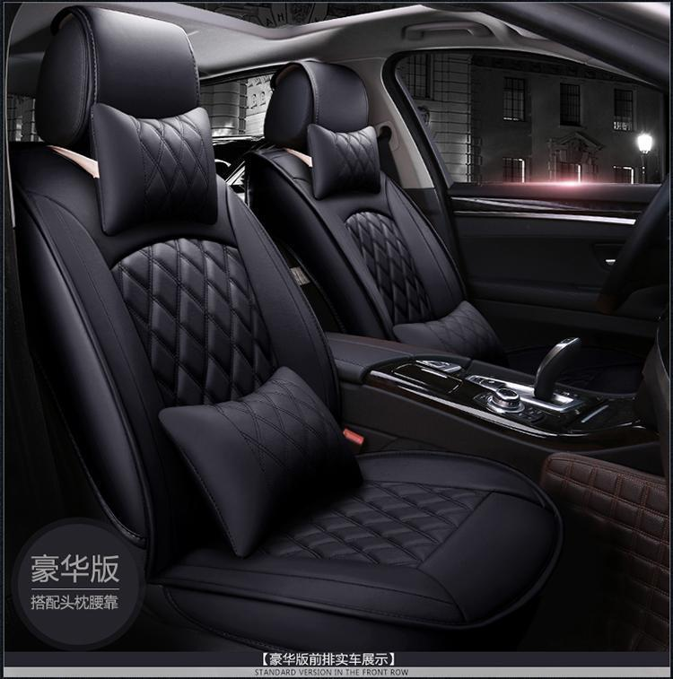 5-Seats Full Front+Rear Cushion W//Pillow PU Leather Seat Covers Car Auto Black