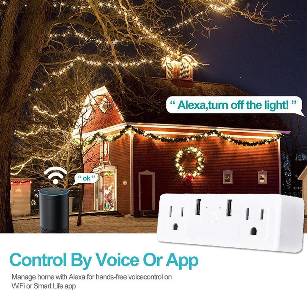 Smart Plug Socket, Teepao Dual Plug With 2 USB Ports APP Remote Control And  Timer Function, Compatible With Amazon Alexa/Google Assistant/IFTTT[US]