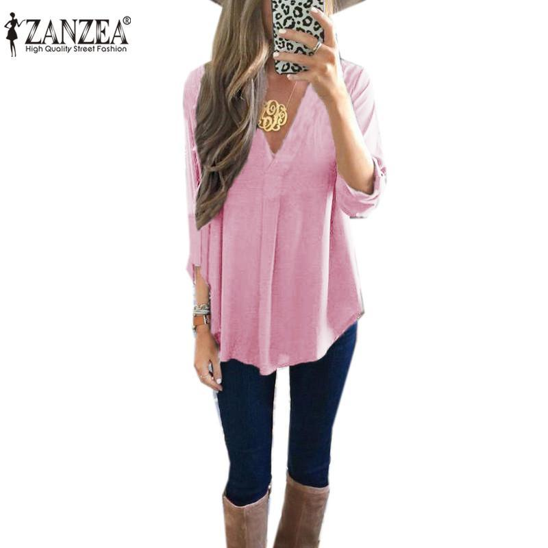 b03e5bd66bbdcd ZANZEA Women V Neck Loose Oversize Solid Long Sleeve Casual Blouse Tops T  Shirt Pink