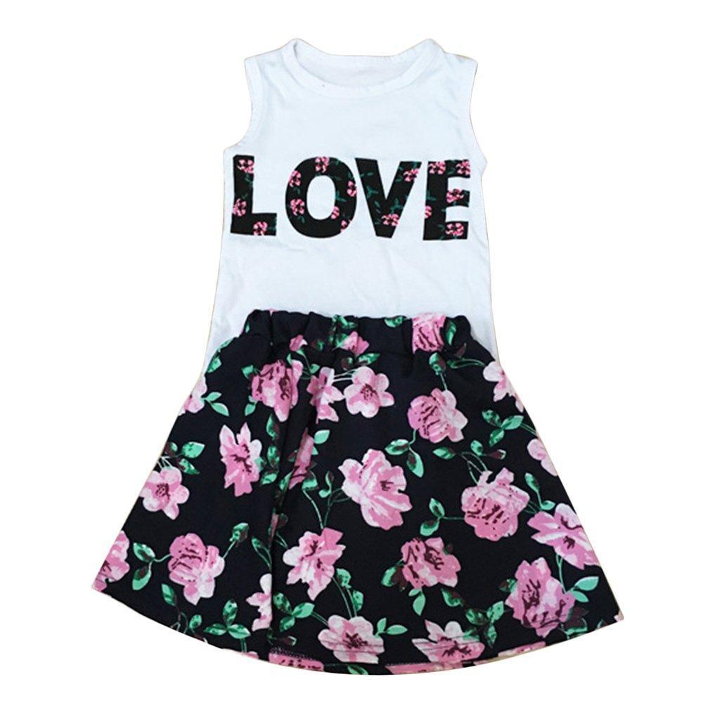 16056e0dc2161 UR 2PCS Floral Print Little Girls Tops Skirt Suit LOVE Sleeveless Tops Mini  Skirt