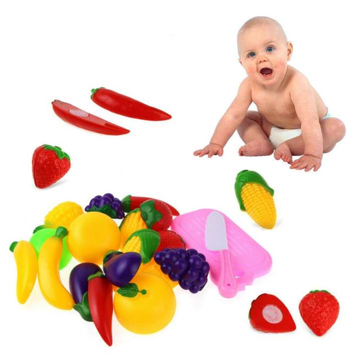 09 pcs Early Development and Educational Toy Cutting Play Fruits Kitchen Toys Set for Kids with Pretend Food Playset - kids