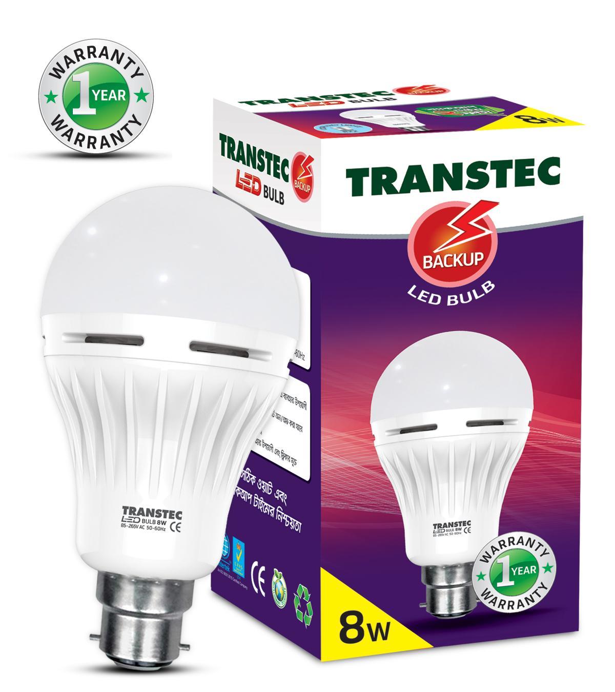 Transtec Smart LED Backup Bulb 8 Watt (E27 - Screw Type)