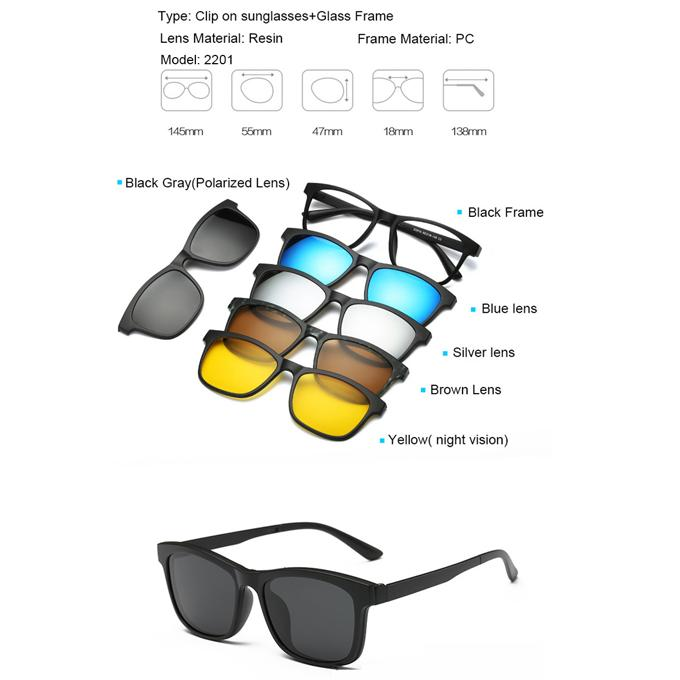 485d51f97f 6 in 1 Magnetic Clip Polarized UV Protection Sunglasses 2201A For Men