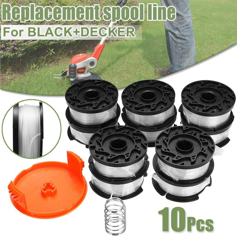 10pcs 30 Inch Trimmer Line With Replacement Spool Cap Cover/Spring For  BLACK/DECKER String Trimmers