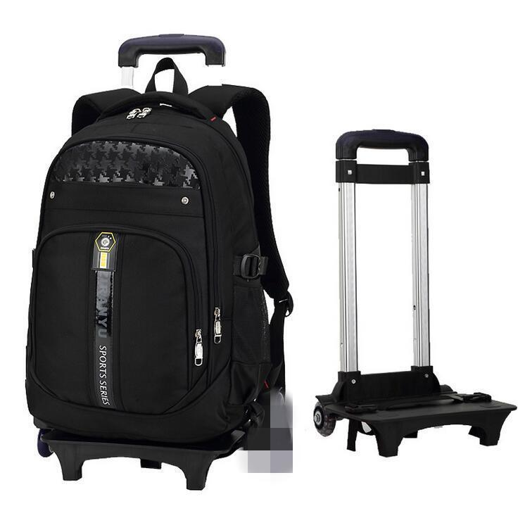 8bb850c5390d Boys Girls Trolley Backpack School Student Bag Travel Pack with 2 Rolling  Wheels