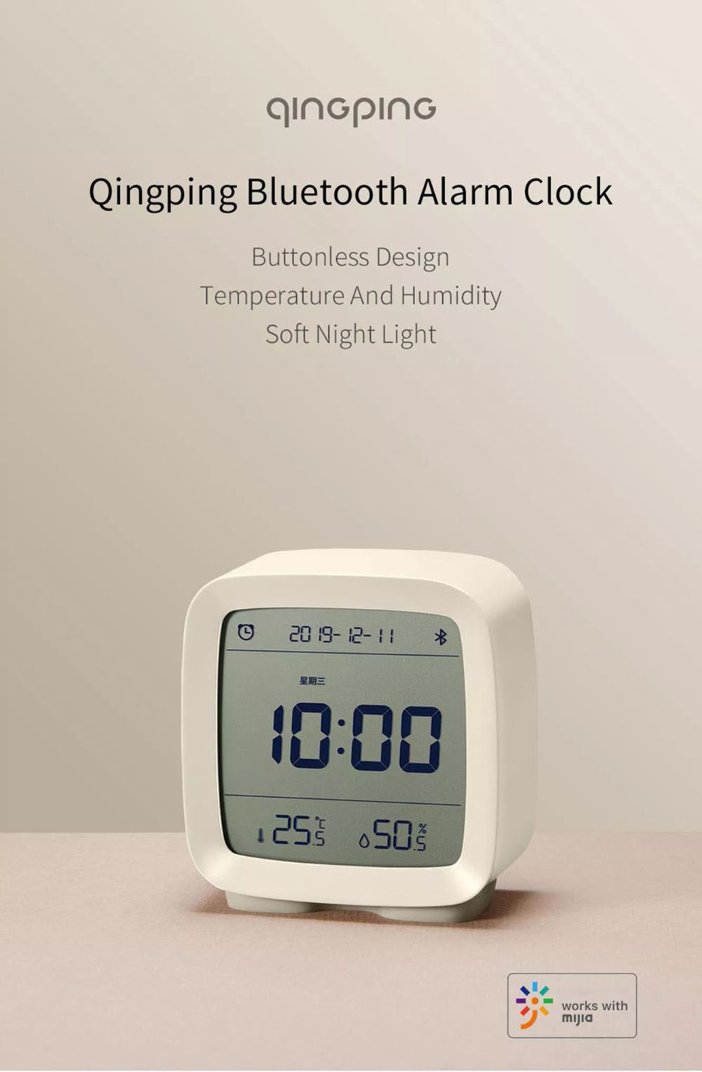 Xiaomi Youpin Qingping Mijia Bluetooth Alarm Clock Alarm Clock Temperature 2