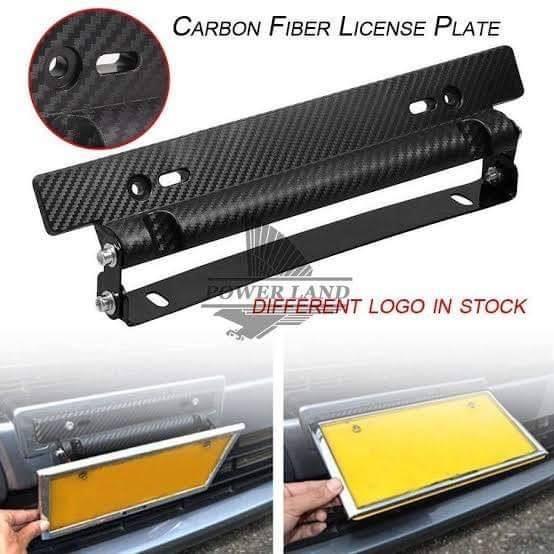 Universal Adjustable Carbon Fiber Car Racing License Plate Frame Holder Bracket