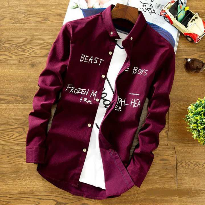 Maroon Stylish Causal Shirt For Man