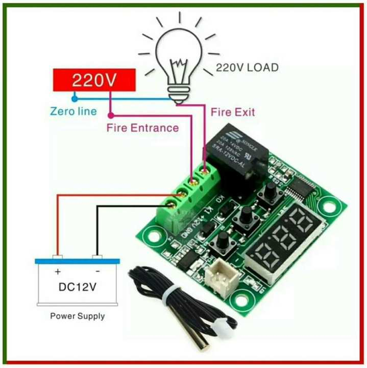 W1209 LED Digital Thermostat Temperature Control Thermometer Thermo Controller Switch Module DC 12V + Waterproof NTC Sensor