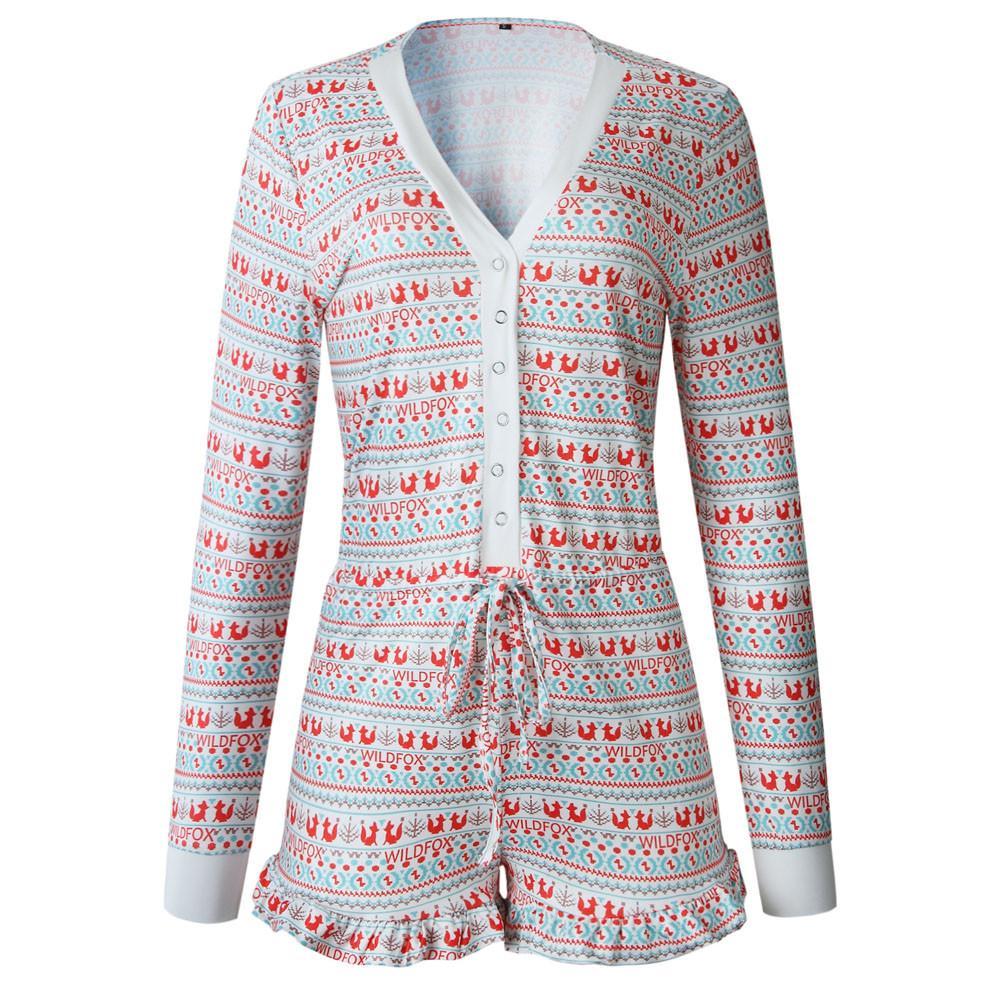 9fdb44130794 Women Fox Printing Long Sleeve Playsuit Clubwear Party Short Jumpsuit