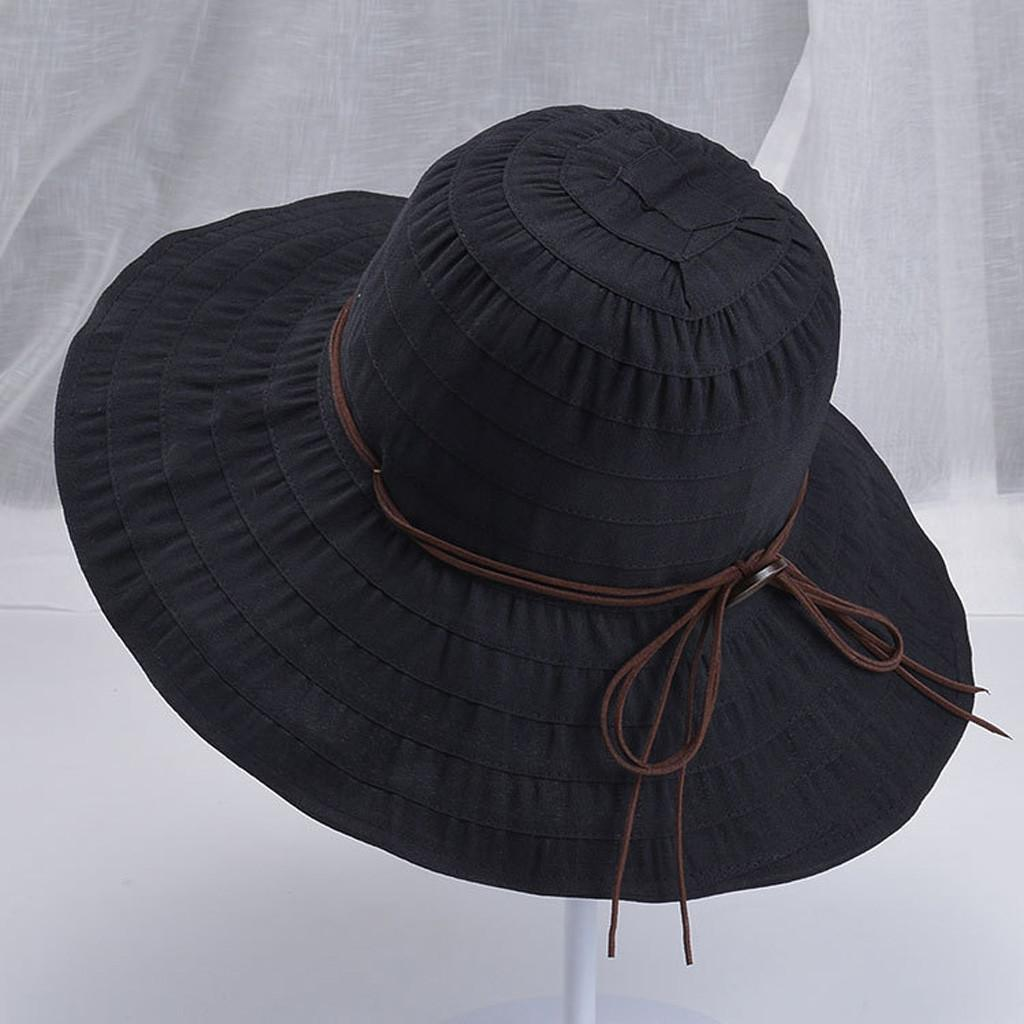 e8720b64 Rainbowroom 2019 Ladies Women Casual Wide Brimmed Floppy Foldable Solid  Summer Sun Beach Hat