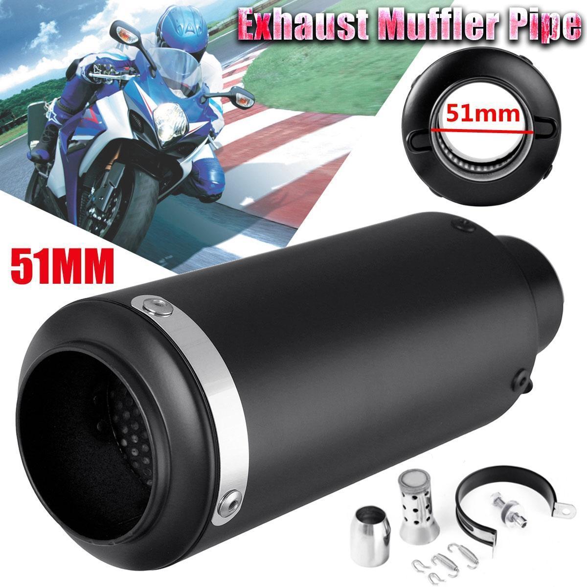 51mm Black Stainless Steel Motorcycle Exhaust Muffler Pipe Silencer Kit