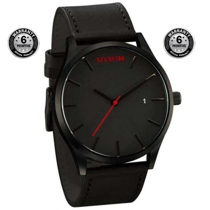 Black Leather Wrist Watch for Men
