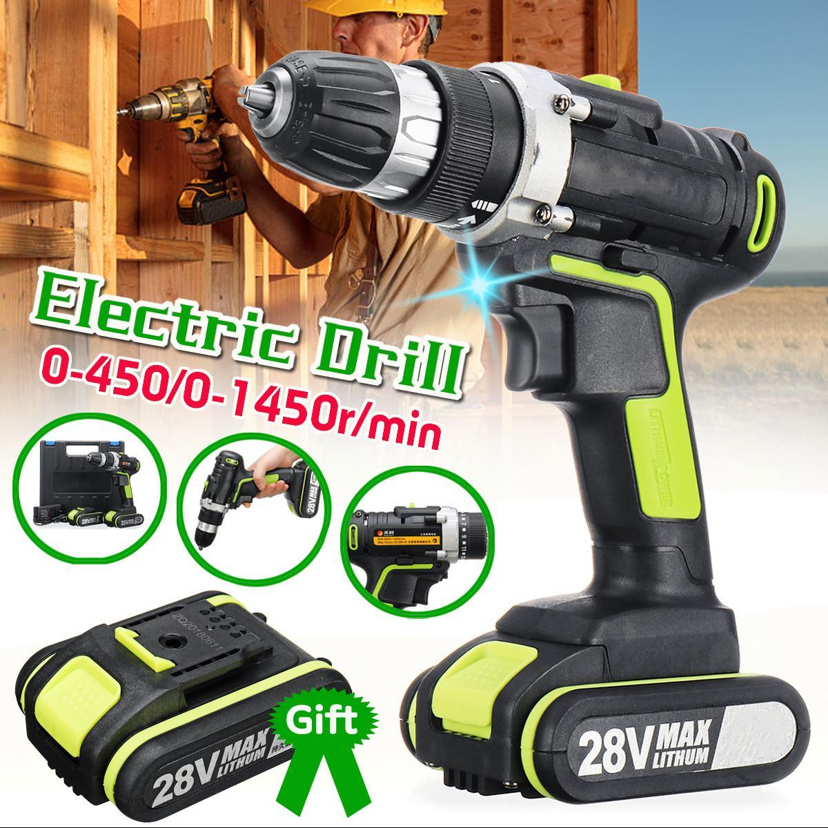 28V 28N m Cordless Hammer Drill LED Double 2-Speed Kit W/ 2 Li-ion Battery  10MM