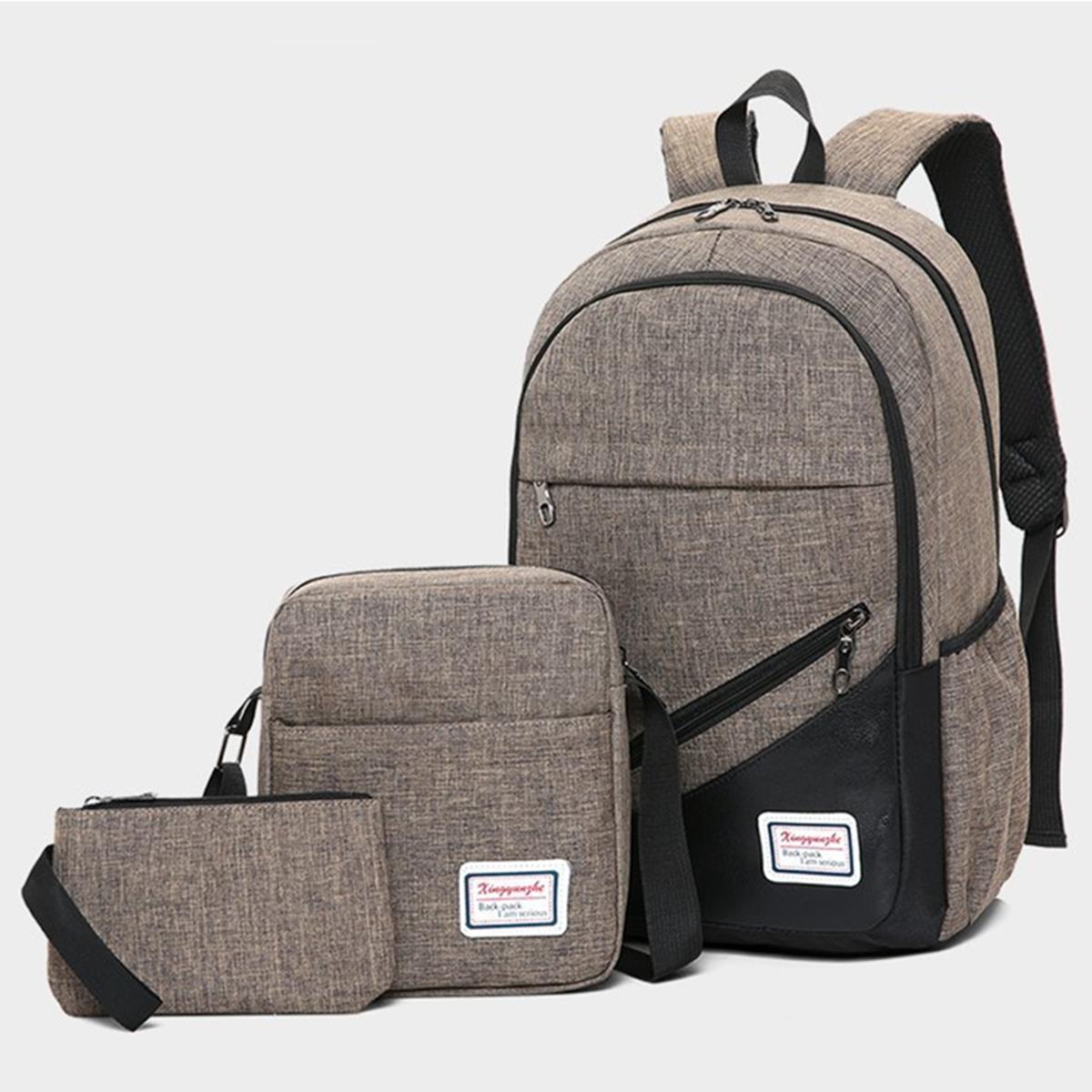 3pcs//set Boys School Bags Backpack for Teenagers Pencil Case Blue Book Bag Boy