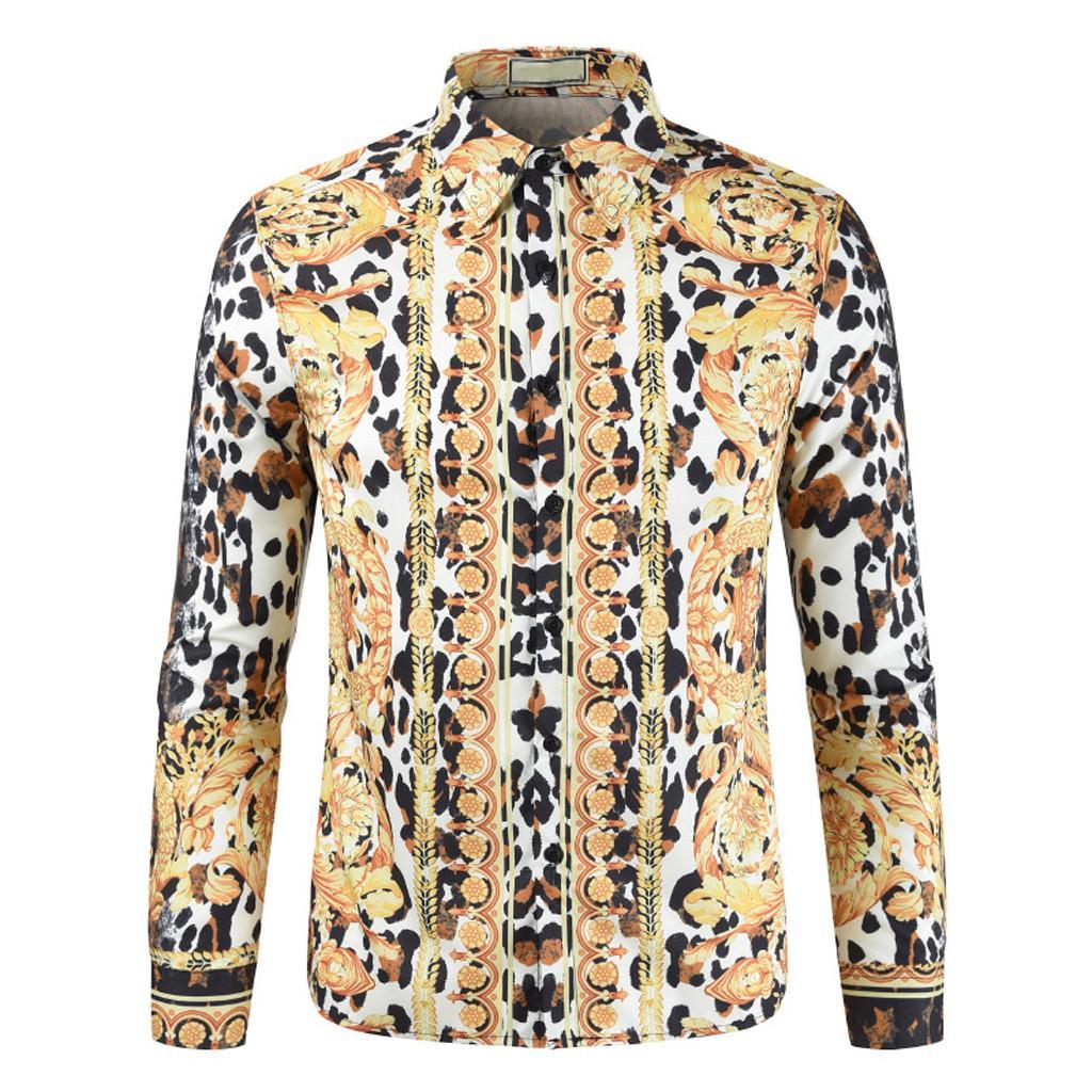 cbb9697a Rainbowroom 2019 Men's New Leisure Fashion Personality 3D Printed Men's  Long Sleeve Shirts Blouse