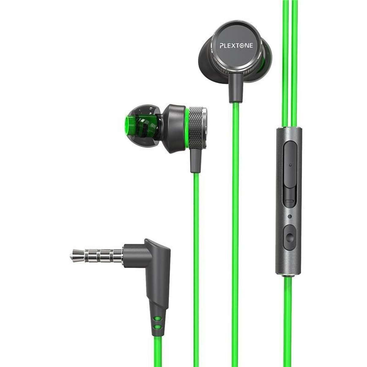 PLEXTONE G15 Earphone 3.5mm Magnetic Stereo Gaming Earohone-Green