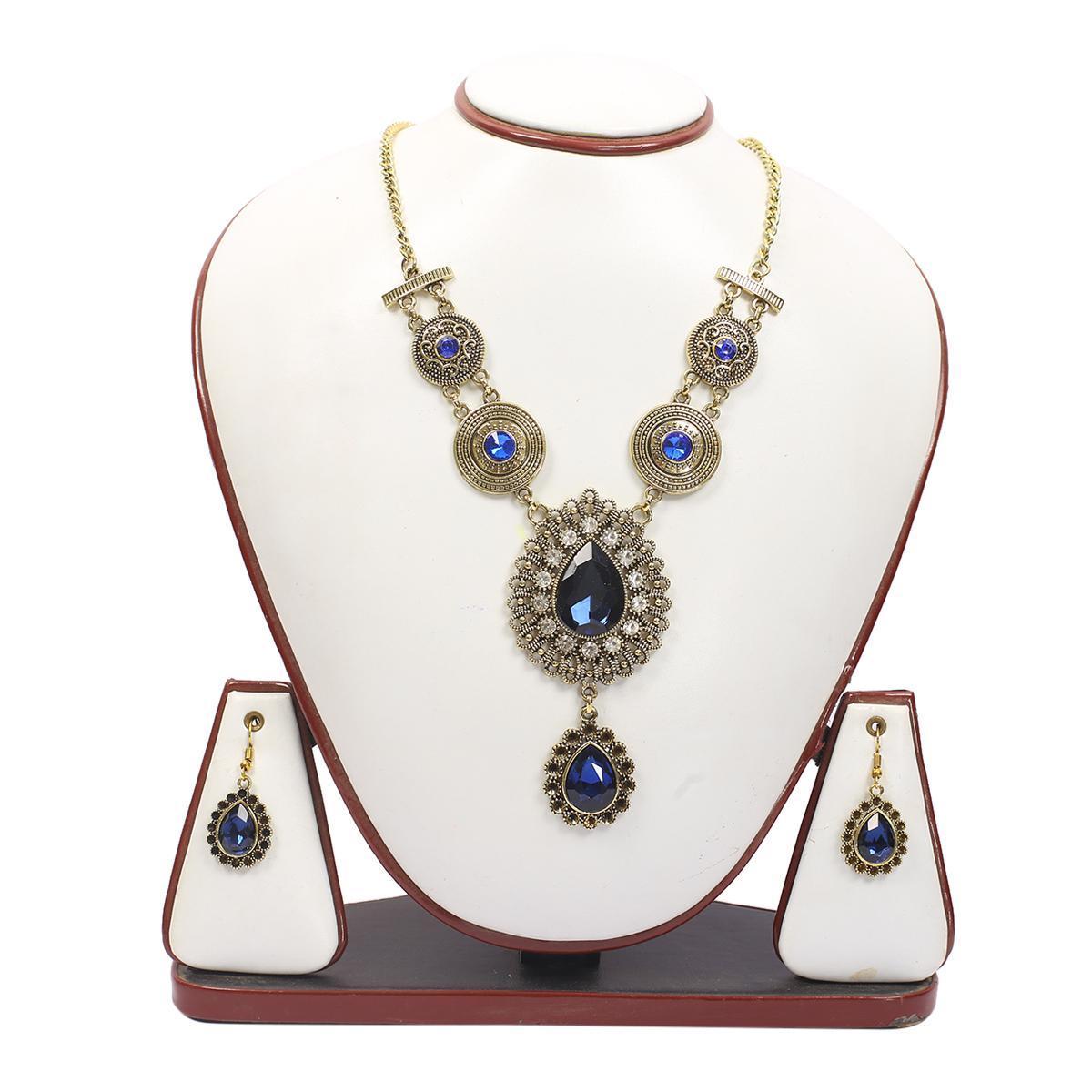 Oxidised Golden Blue Stone Design Necklace Set Buy Online At Best