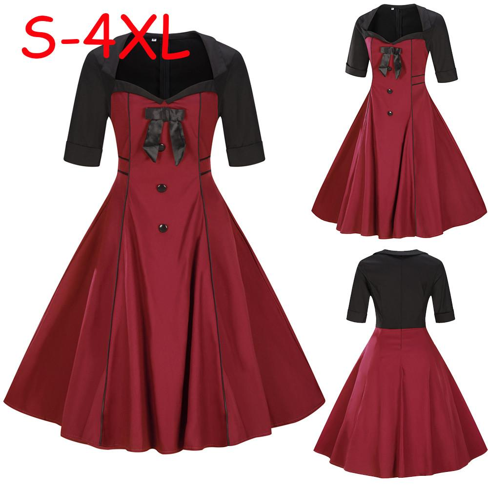 3c69371ce3a Happydeal Womens Plus Size Short Sleeve Vintage Dress Button Bow Retro  Flare Dress