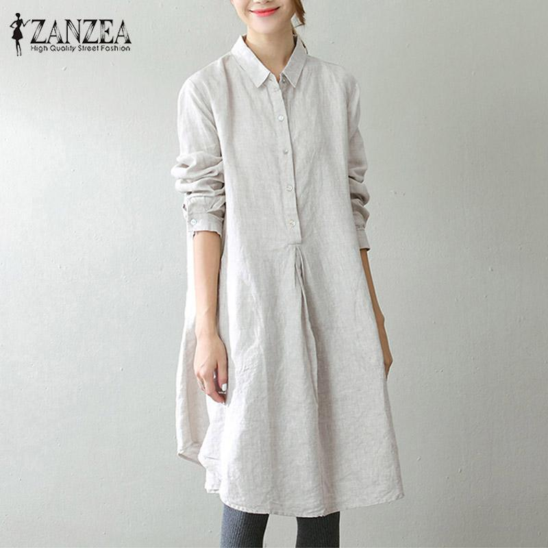 d0e32adc3e96 ZANZEA 2018 Spring Women Lapel Buttons Long Sleeve Vestidos Retro Casual  Baggy Pockets Solid Work Office