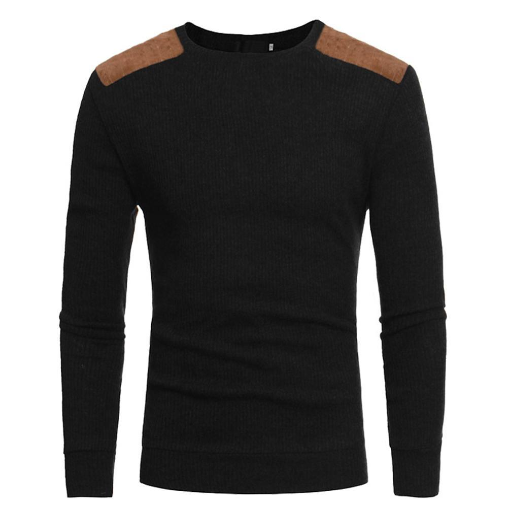 ee4c6878 Estima Men Round Neck Casual Trim Knitting Sweater Slim Cotton Knit Tops  Color Matching Sweater